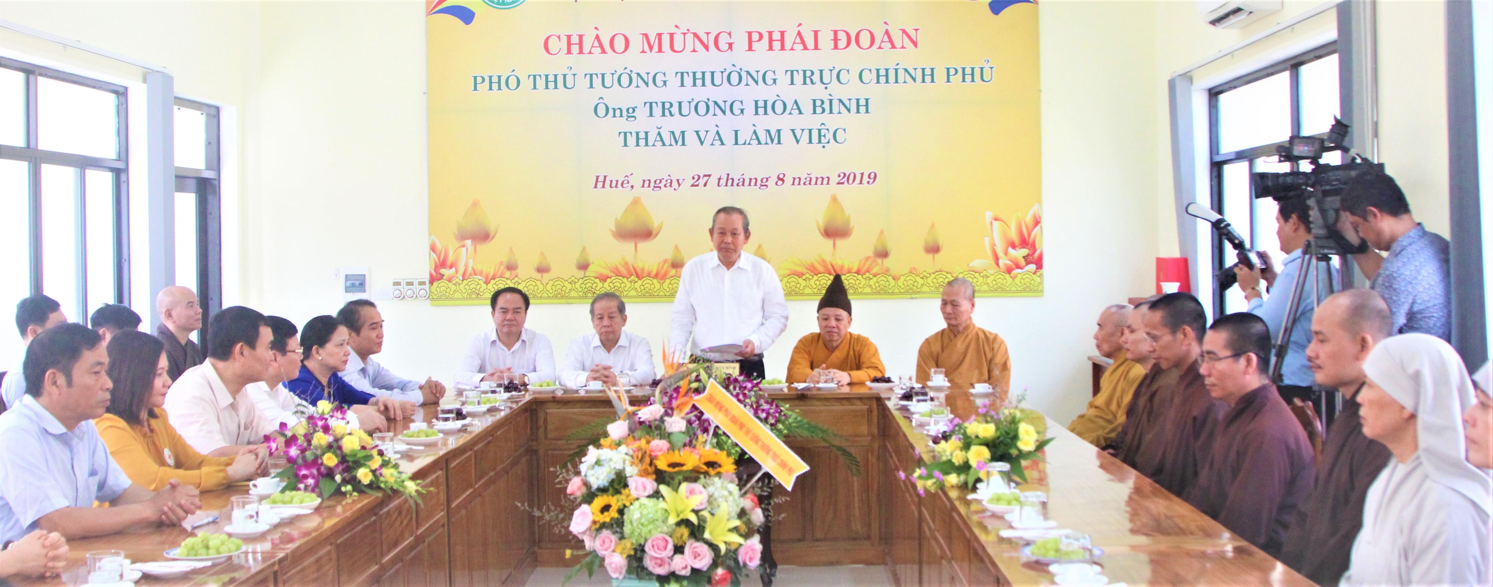 Phó Thủ tướng Thường trực Chính phủ thăm và làm việc với Học viện PGVN tại Huế