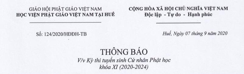 Tuyển sinh Cử nhân Phật học Khóa XI (2020-2024) - đợt 2
