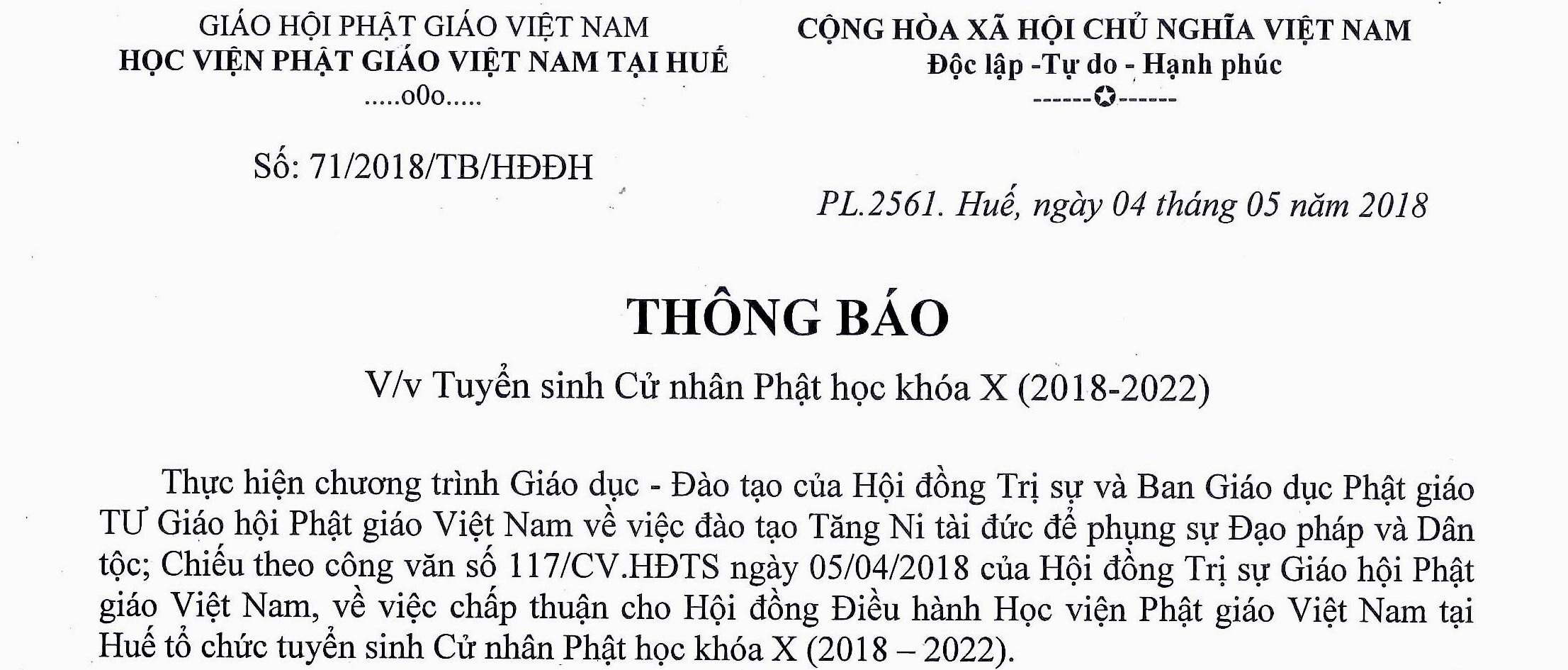 Học viện PGVN tại Huế thông báo tuyển sinh Cử nhân Phật học khóa X