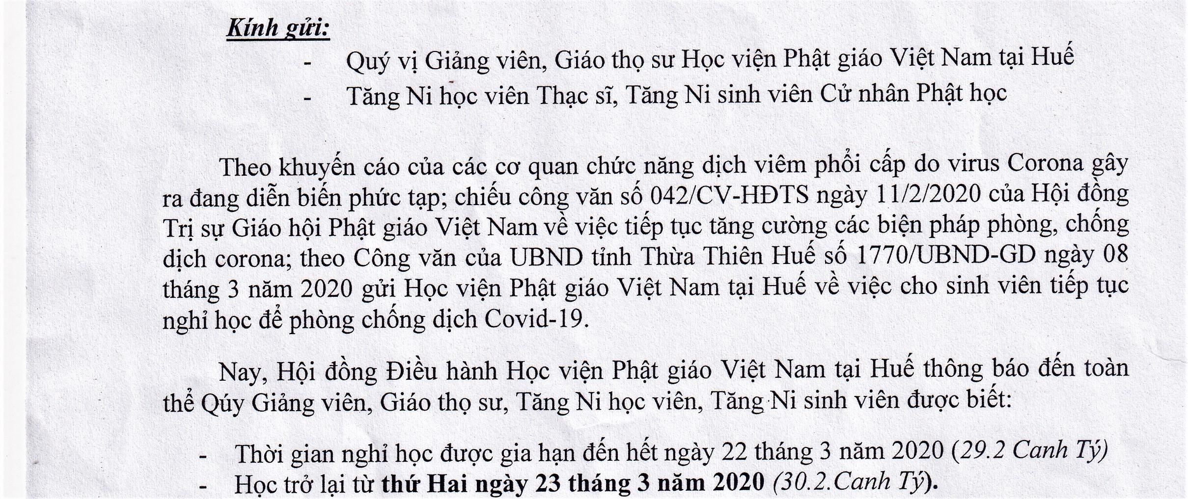 Học viện PGVN tại Huế thông báo gia hạn thời gian nghỉ học